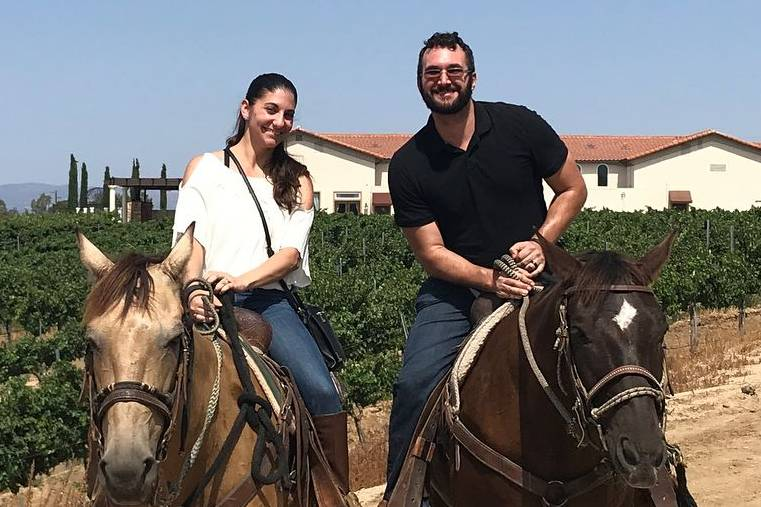 Keenan Murray and his wife on horses.
