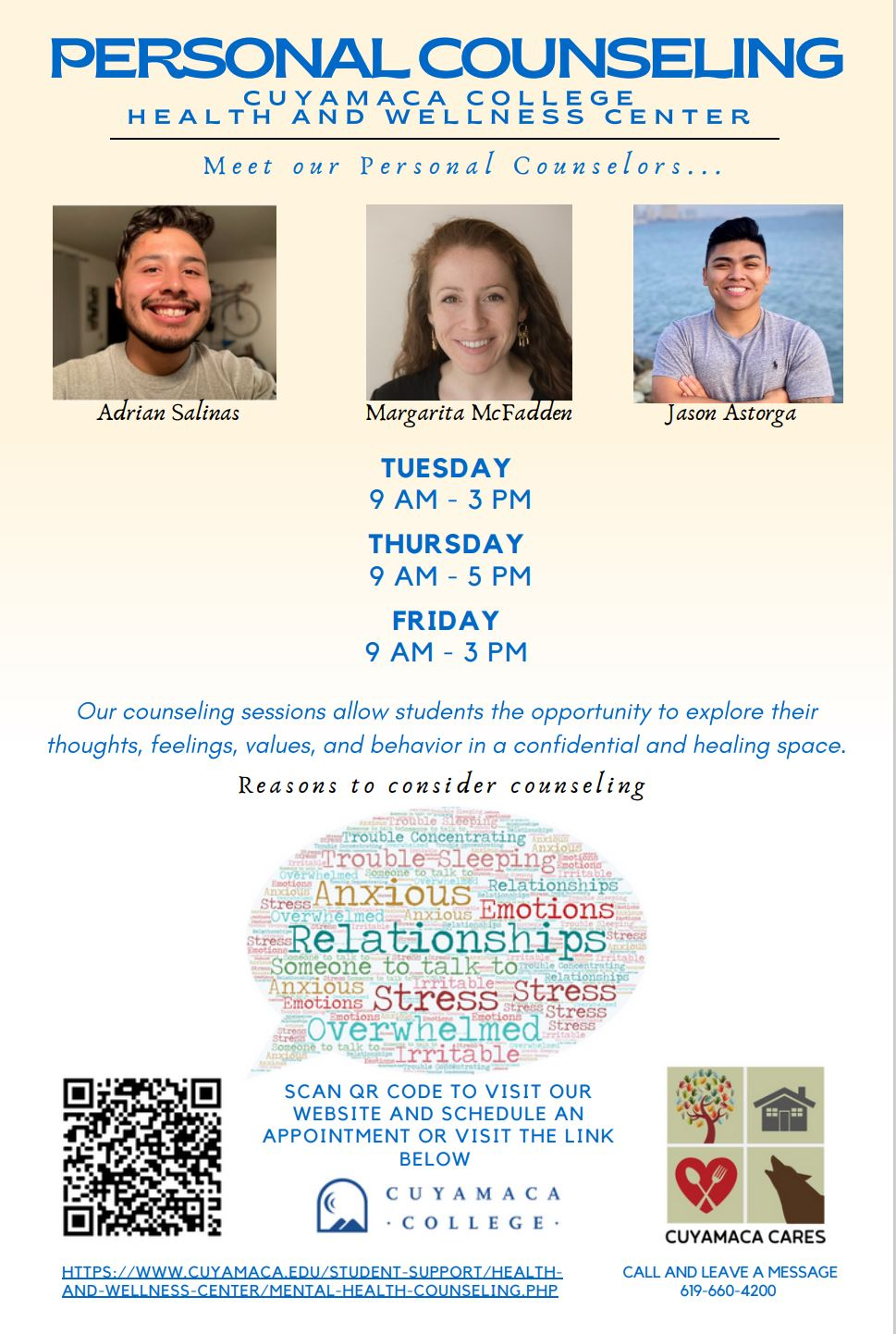 personal counseling flyer spring 2021